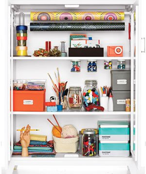 Organized craft cupboard