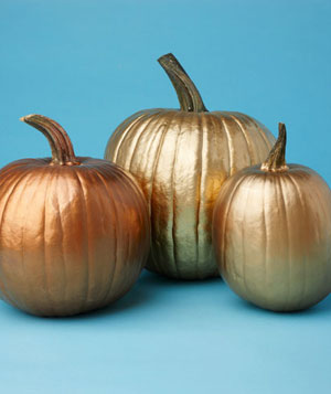 Metalic gold painted pumpkins