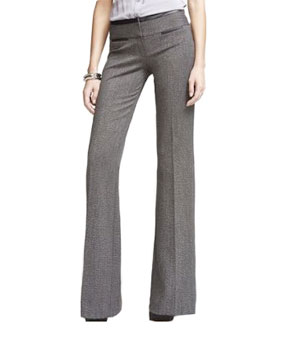 Express Faux-Leather Trim Tweed Editor Pant