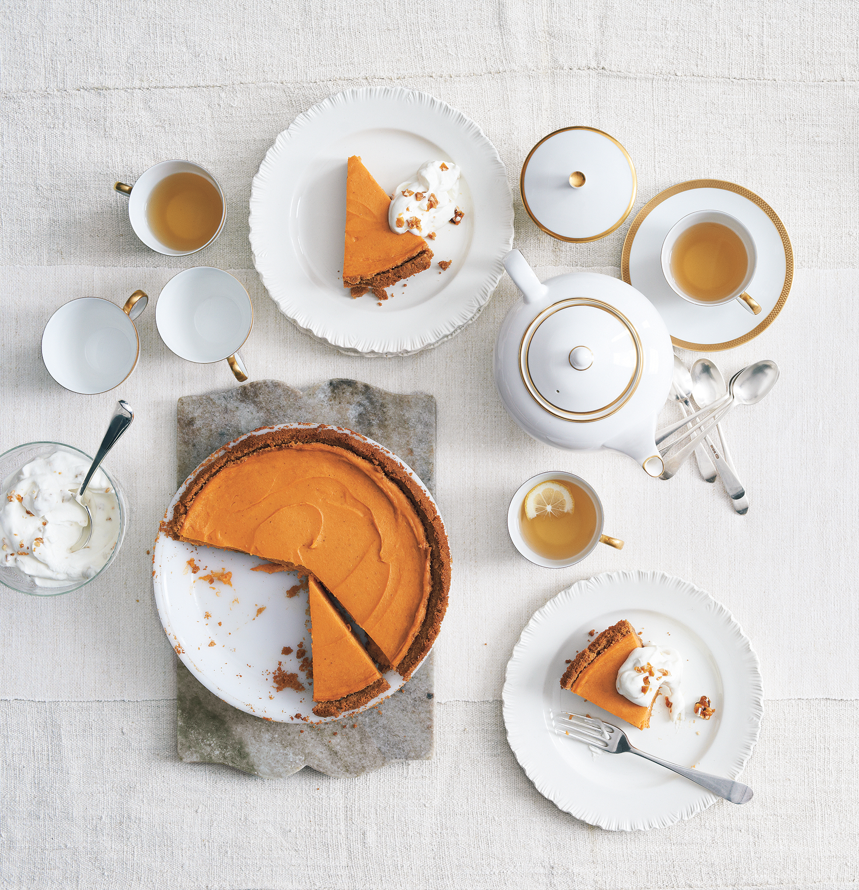 Sweet Potato Pie With Candied Nut Cream