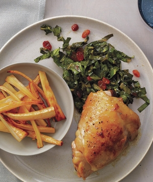 Chicken Thighs with Honey-Roasted Parsnips and Collards