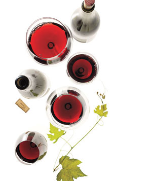 Bottles and glasses of red wines