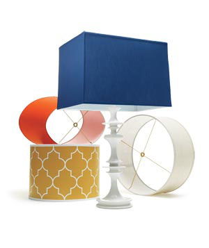 Bold-colored lamp shades