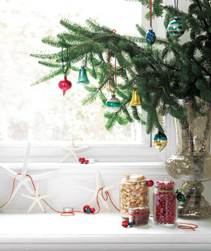 Window ledge with holiday decorations
