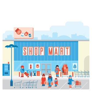 Illustration of shoppers outside a store called Shop Mart