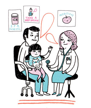 Illustration of father and child sitting with doctor in doctor's office