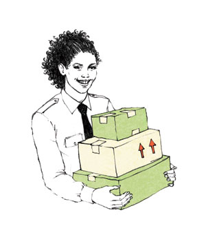 Illustration of postal worker carrying packages
