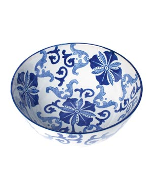 Blue and White Flourish porcelain bowl