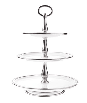 Tuscan three-tier stand in ceramic and pewter