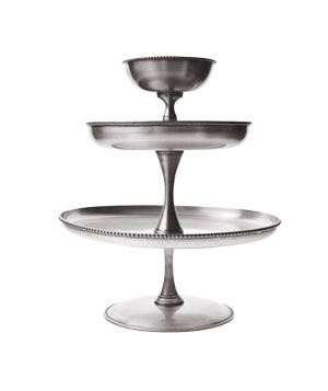 Antique silver three-tier stand in brass