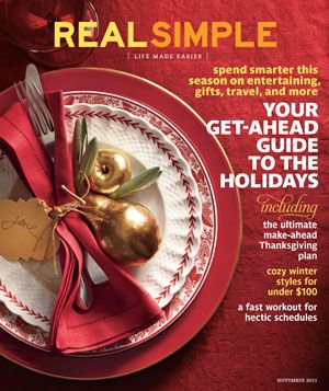 November 2011 cover image of 3 red-accented plates with cutlery and gold pears on red background
