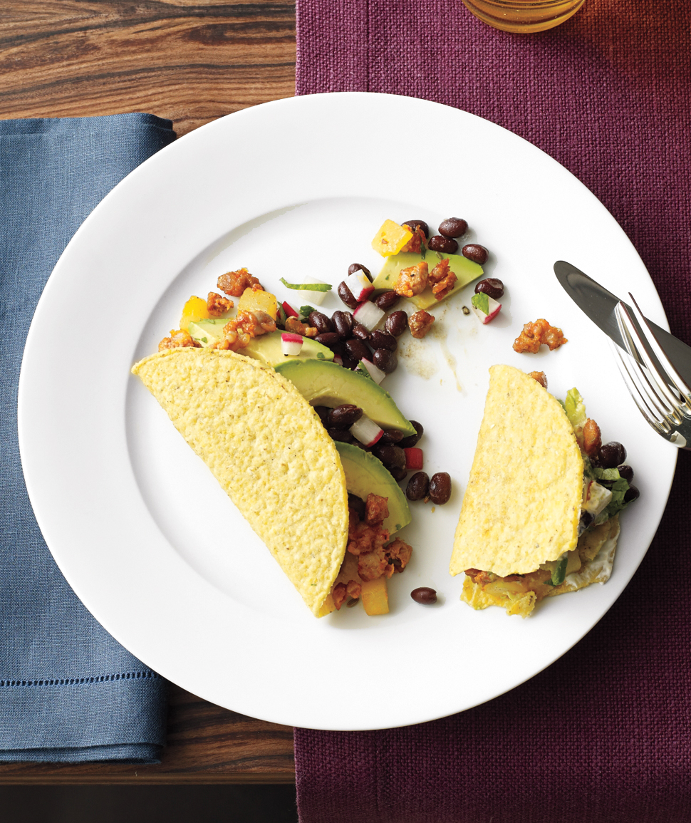 Chorizo-Potato Tacos With Black Bean Salsa