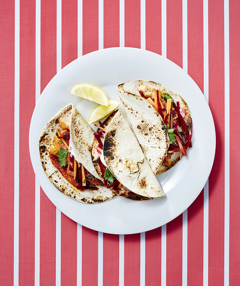 Smoky Flounder Tacos With Beet and Carrot Slaw