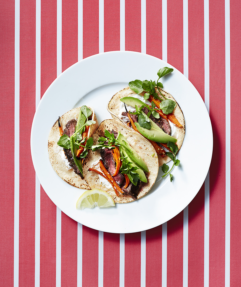 Steak and Roasted Carrot Tacos With Avocado