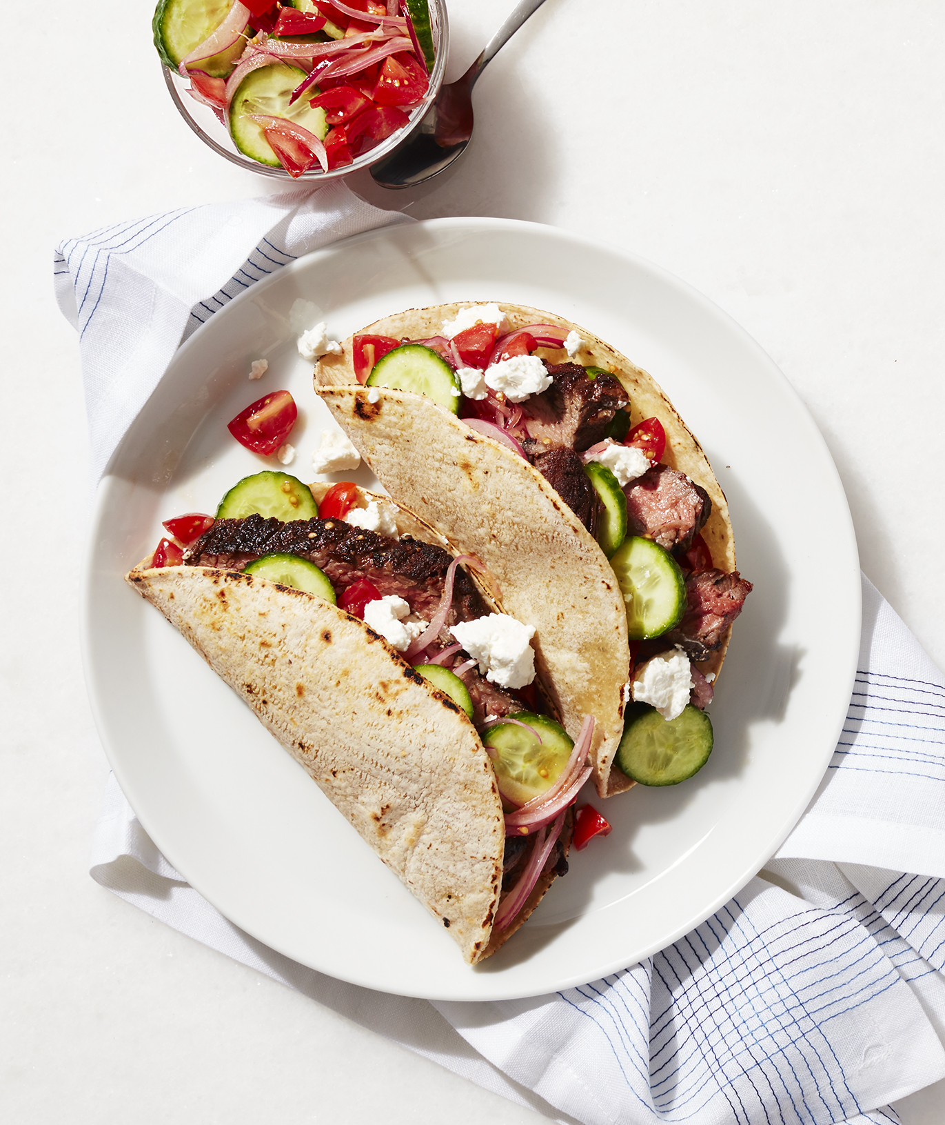 Skirt Steak Tacos With Greek Salsa