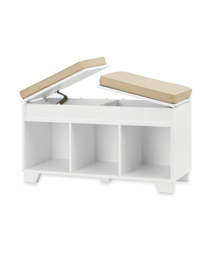 Split-Top Bench Storage Unit in White