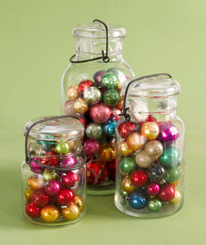 Mason jars filled with ornaments