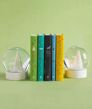Snowglobes as bookends