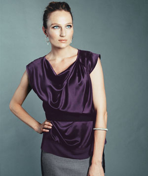 Model in satin purple Simply Vera Vera Wang top