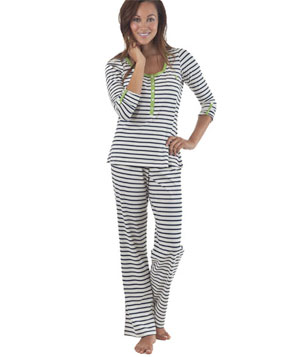 Bed Head Pajamas Navy & Cream Stripe Placket Stretch Pajama Set