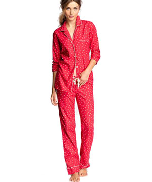 J. Crew Classic Pajama Shirt and Flannel Pajama Pant in Polka Dot