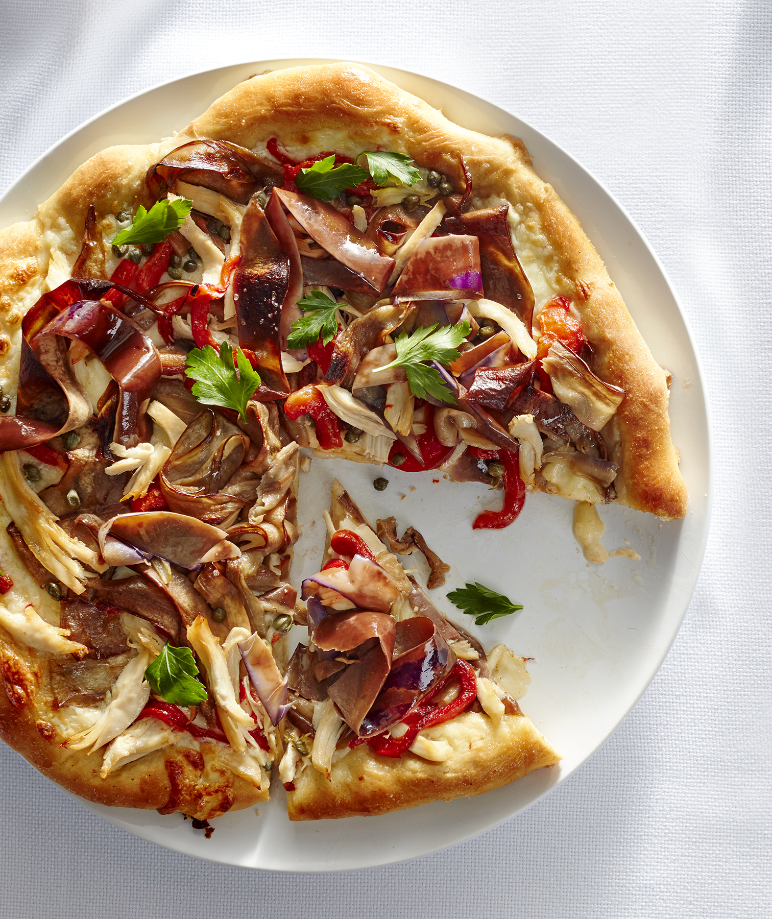 Eggplant and Chicken Caponata Pizza