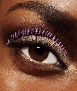 Glitter-dipped false lashes