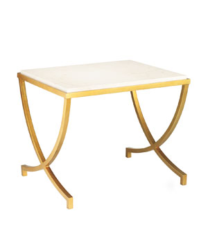 Haviland Gold-Leaf and Travertine Table