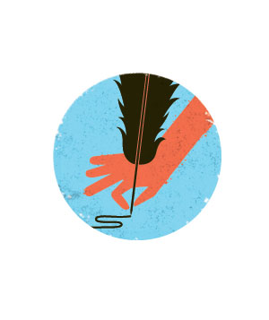 Illustration of a hand writing with a quill