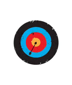 Illustration of a target with an arrow in the bullseye