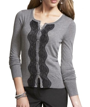 Express Lace-Front Cardigan