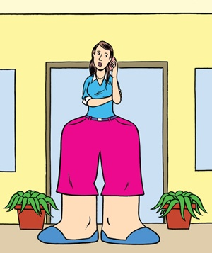 Illustration of woman talking on the phone wearing huge pants
