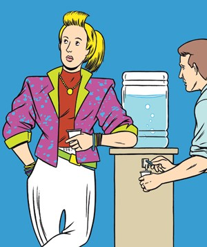 Illustration of person standing at water cooler wearing loud outfit