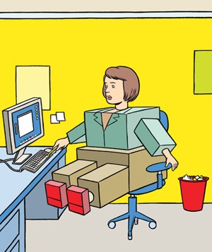 Illustration of a woman made out of boxes sitting at office desk