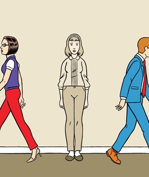 Illustration of 2 colorful people walking past a colorless woman