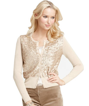 Ann Taylor Sequin Front Merino Wool Cardigan