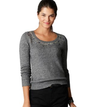 Loft Scattered Gem 3/4 Sleeve Sweater