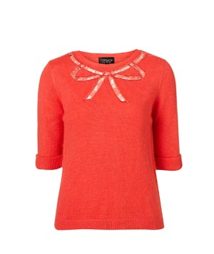 Topshop Knitted Lace Bow Jumper
