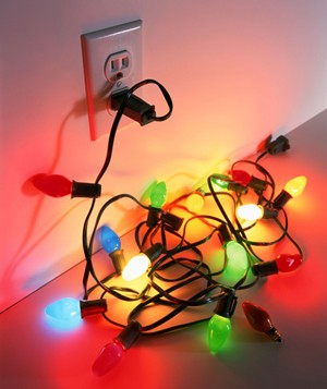 Plugged in colorful Christmas lights