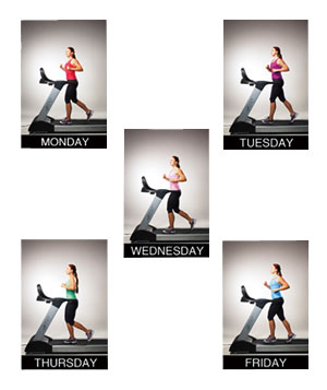 5 images of a woman running on a treadmill