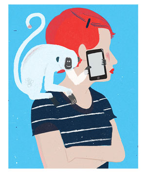 Illustration of a woman with a monkey on her shoulder holding a smartphone