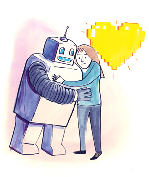 A robot and a girl hugging