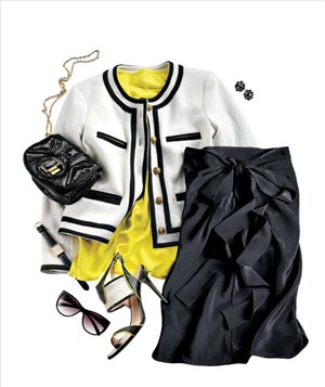 Ladylike clothing with neon accents