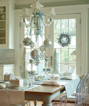 Christmas baubles hanging from a chandelier