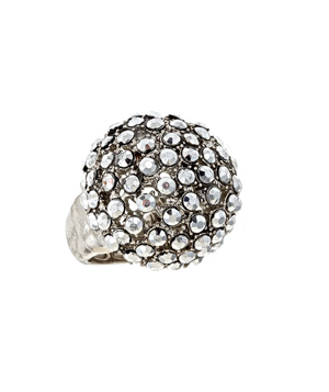Blu Bijoux Silvertone Boogie Nights Ring