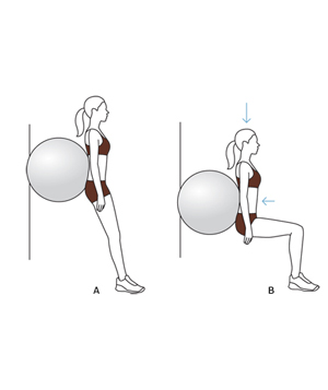 Illustration of squat against the wall exercise