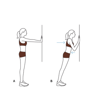 Illustration of upright push-up exercise