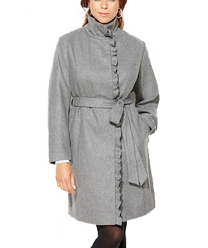 Avenue Ruffle Tie Wool Coat
