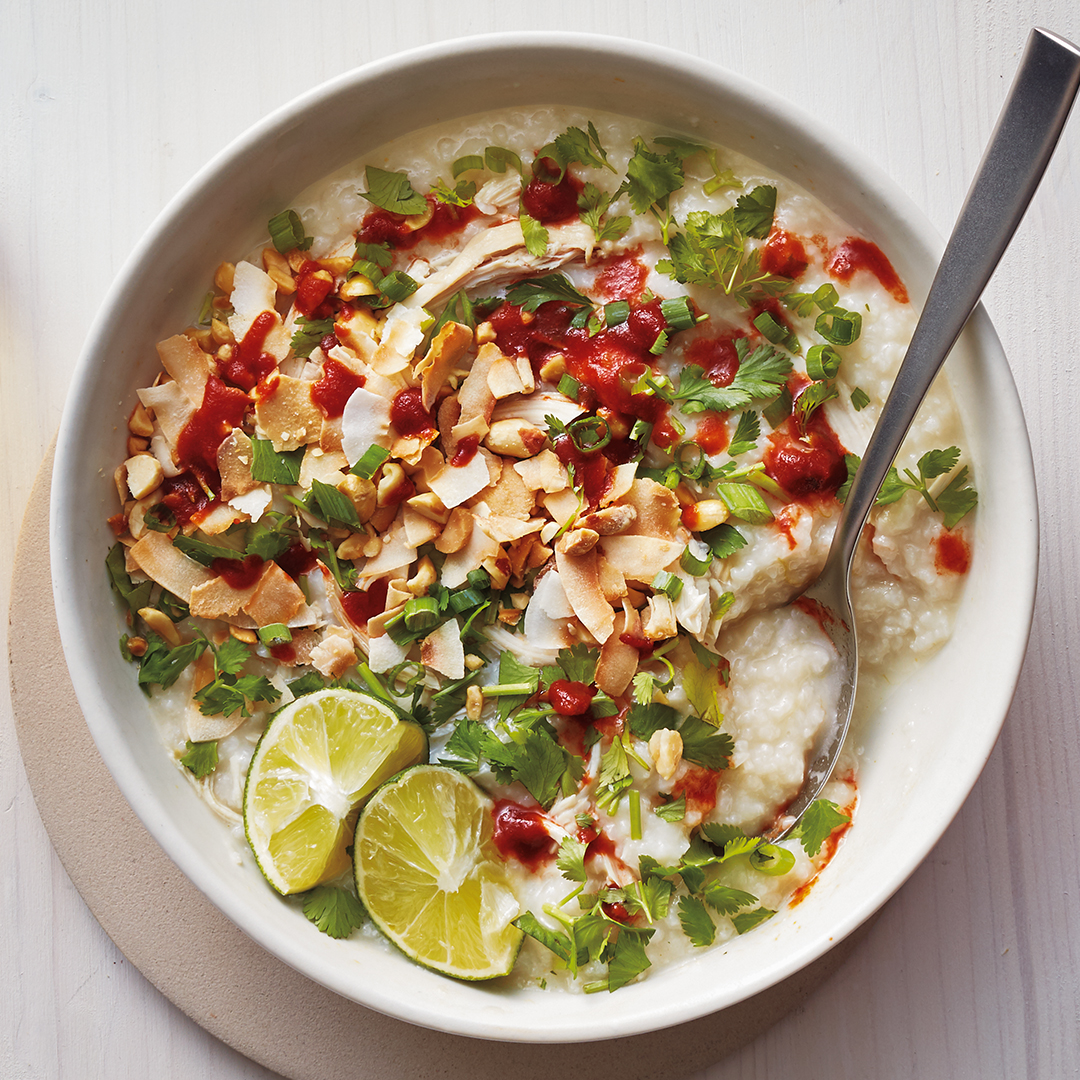 <p>Slow cooker chicken congee</p>