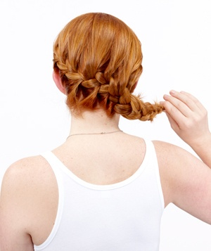 How to do a side french braid bun real simple step 2 of the side french braid bun ccuart Images